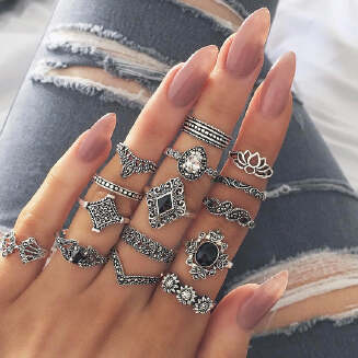 Bohemian retro ancient anemone female new personality ring ring set of 15 JX0505 D0024 EID Jewelry tp0416 FD0818 ts19