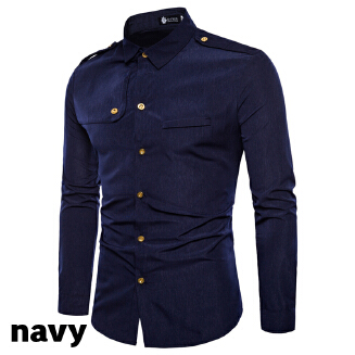 Men's Slim Fashion Epaulettes Workwear Long Sleeve Lapel Shirt JX0506 1711- DC67 EID Men