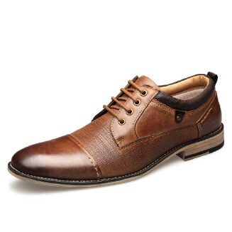 Men's shoes leather lace embossed business shoes JX0514 1917 EID Shoes