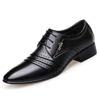 Pointed laced openwork casual shoes breathable leather shoes business shoes JX0514 6302 EID Shoes