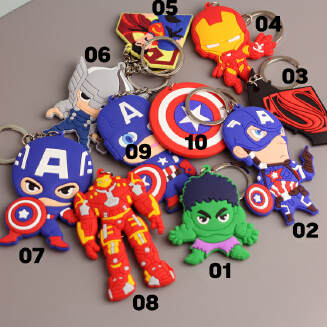 10 Avengers double-sided soft keychain US captain Transformers send boys luggage pendant JX0601 3522 FD0818