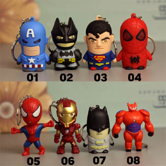 Avengers Captain America Glowing Keychain Q Edition LED Pendant Iron Man Small Gift JX0601 2310 FD0818