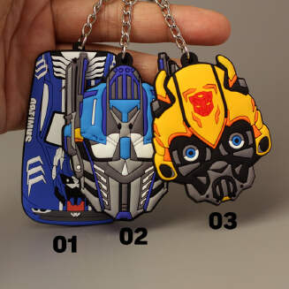 Transformers soft keychain Bumblebee Optimus Prime bag pendant male double-sided doll sports car key chain JX0601 3335 FD0818