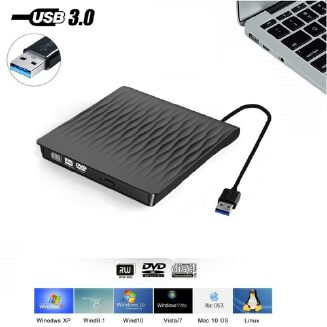 External Portable DVD Drive Slim USB 3.0 DVD/CD Re-Writer Burner Reader RW Drive