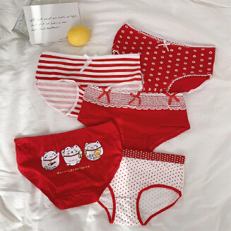 5PCS Red Panties Girl Cotton Mid-Low Rise Briefs JA1201 9243-1