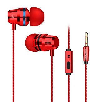 Red and blue circle metal headphones in-ear remote control mobile computer MP3 wired gaming headset RB1209 G80
