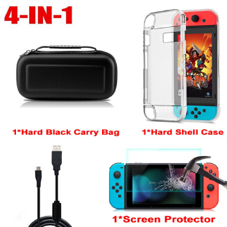 Portable Accessory Case Bag+Shell Cover+Charging Cable+Protector for Nintend Switch