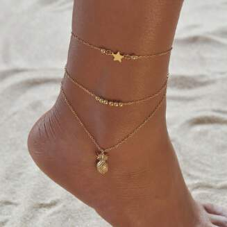 Fashion alloy anklet female creative models pineapple stars anklet simple girls anklet trinkets JX0610 BB617 FD0818