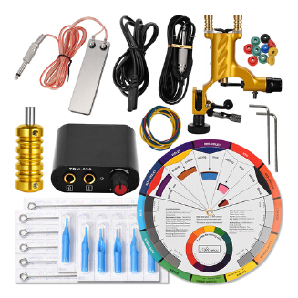 Gold Starter Tattoo Machine Practice Kit Accessories Set Rubber Band Needle Pad Complete Tattoo Tools