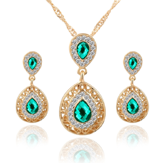 HN Brand-2 pcs New hot selling new earrings necklace set combination crystal earrings drop pendant jewelry set occasion wedding for Women Lady Girl Gift