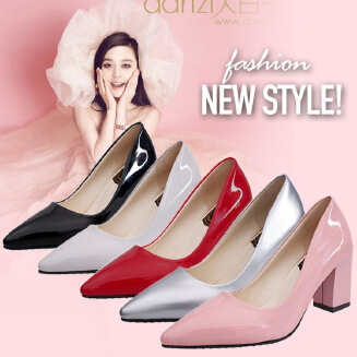 New single shoes women's professional small leather shoes pointed patent leather thick heel high-heeled four seasons wild wedding women's shoes JX0424 581