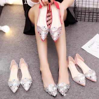 Sweet rhinestone pointed flat shoes women's leather shoes wedding shoes shallow scoop shoes transparent women's shoes JX0424 529