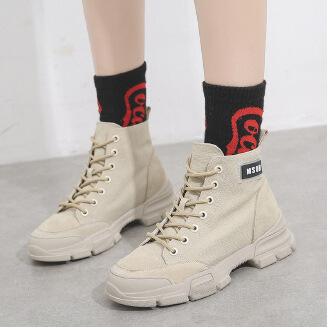 Women's canvas Martin boots autumn and winter new wild desert boots British style retro student tooling boots short boots women's JX0424 99182