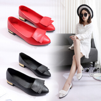 Women's shoes new bow metal decoration small single shoes flat heel shallow mouth professional women's shoes JX0424 616