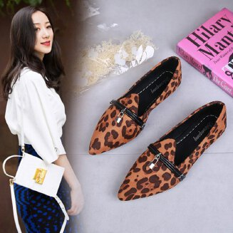 Shoes women's new fashion autumn pointed leopard shallow mouth shoes suede flat shoes ladies retro JX0424 A26