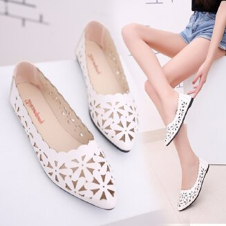 Hollow small white shoes women's single shoes summer new wild flat-bottom flat heel pointed hollowed spring and summer women's shoes JX0424 606