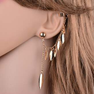 Gold-plated fringed leaves earrings 1 piece JX0610 E592 tp0416 FD0818