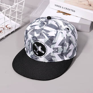 Digital print plus patch embroidered flat cap - Black and grey