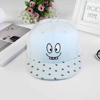 Adorable Facial Expression Embroidery Kid's Snapback Cap-Blue