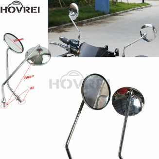 Universal Motorcycle chrome View Mirrors Round Rearview Side Mirrors Motorbike mirrors With 8mm Screw