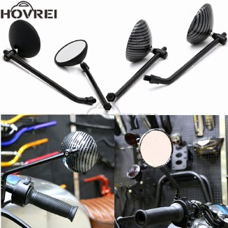 new unviersal motorcycle 8mm 10mm carbon fiber color black round rearview mirrors side mirrors for ktm Harley Honda Yamaha