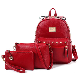 Three-piece women's backpack Korean fashion college style lychee pattern mother bag BS0719 6605