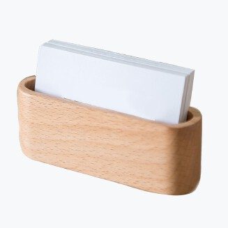 High End Wood Name Card Holder Desk Accessories Office Supplies Simple Smooth Wood Stable Card Holder