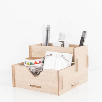 DIY Wood Pen Holder Hand Made Desk Organizer Pen Pot School Office Supplies Pen Stand Creative MDF Wooden Board
