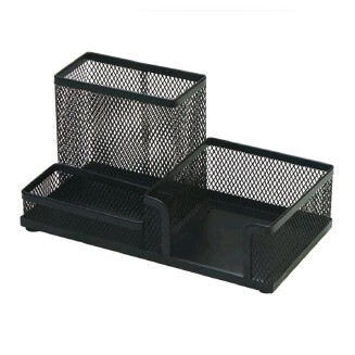 Office Stationery Iron Combination Pen Stands Set Holder Black Mesh Holder Pencil Pot