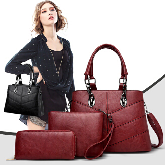 Women's bag Europe and the United States new fashion one-shoulder women's bag three-piece messenger handbag trend son-in-law bag BS0719 9007