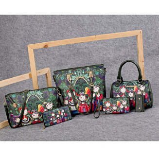 Six-piece set mother-in-law bag female bag retro forest series hit color portable diagonal large capacity BS0719 A-17