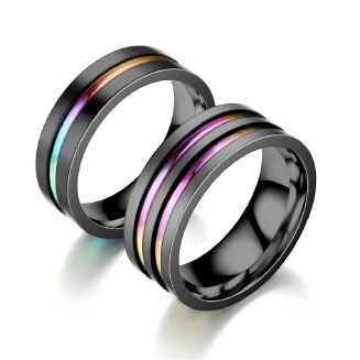 Two-tone ring fashion stainless steel couple ring JX0905 DC-8801 JX0805