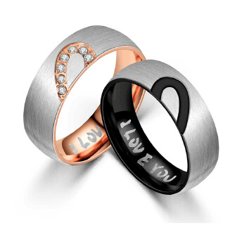 Titanium steel jewelry peach heart i love you couple ring stainless steel frosted diamond ring JX0905 001 JX0805