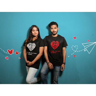 Black Couple T-Shirt for Valentine's Day by Ritzy (Half Sleeve) - Ritzy DS20