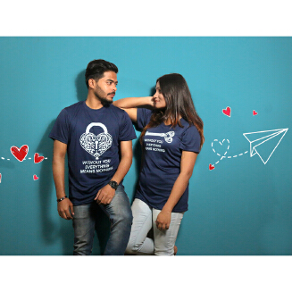 Navy Blue Couple T-Shirt for Valentine's Day by Ritzy (Half Sleeve)- Ritzy DS20