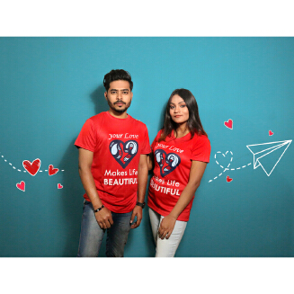 Red Couple T-Shirt for Valentine's Day by Ritzy (Half Sleeve)- Ritzy DS20
