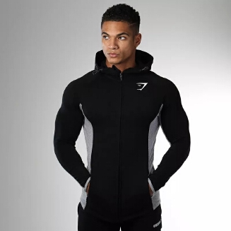 Men'S Gym Zipper Long Sleeve Bodybulding Shark Hoodies Sweatshirts Sports Quick Dry