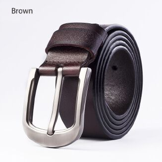Fashion Leather Belt With Pin Buckle For Men-Brown Color