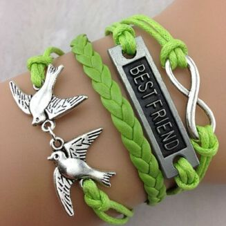 Fashion NEW Hot Fashion BEST FRIEND Leather Cute Charm Bracelet Plated Silver