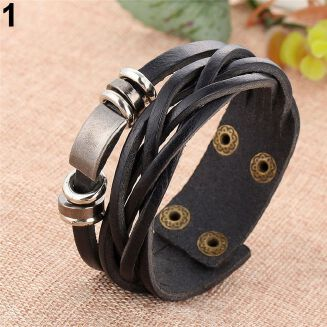 Fashion Vintage Men's Women's Faux Leather Multilayer Bracelet Bangle Wristband Jewelry New