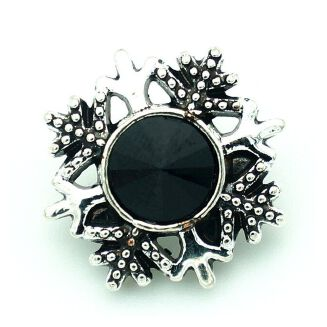 Fashion Beauty Merry Rhinestone Snowflake 18mm Snap Buttons-Black
