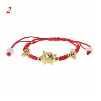 Fashion Bracelet For Women Chinese Feng Shui Golden Pig Red-Multi