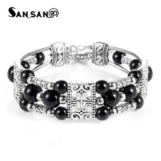 Fashion Ethnic Tibetan Silver Feather Colorful Beads Charms-Black