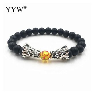 Fashion Trendy Natural Stone Bead Bracelet Vintage Charms-Multi