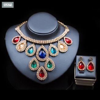 Fashion 2 Sets High-level Wedding Bride Jewelry Sets,Shiny And Rhinestone, Necklace Earring For Woman-colorful Multi