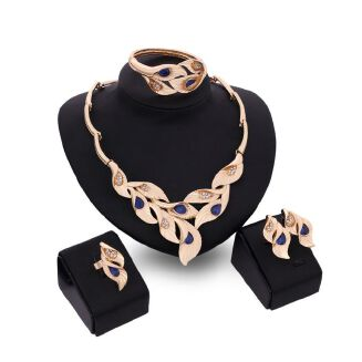 Fashion New Women Fashion Alloy Necklace Earrings Bracelet Ring Jewelry Set For Wedding And Party - Gold