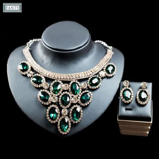 Fashion 2 Sets High-level Wedding Bride Jewelry Sets,Shiny And Rhinestone, Necklace Earring For Woman-green