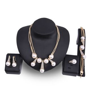 Fashion New Pearl Jewelry Set Necklace Earring Set White