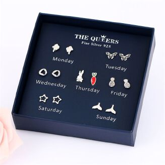 Fashion 7 Pairs/set Women Fashion S925 Silver Stud Earrings Set Female One Week Earrings Gift Box Set Girlfriends Birthday Holiday Gift Anti Allergy Earring - Silver