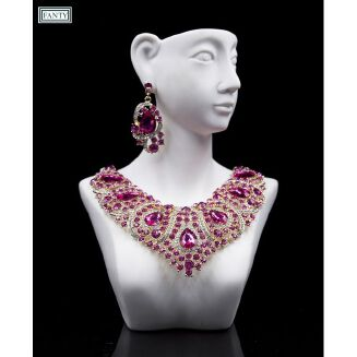 Fashion 2 Sets High-level Wedding Bride Jewelry Sets,Shiny And Rhinestone, Necklace Earring For Woman-PINK Purple